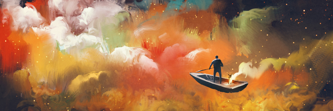 Man on a boat in colorful clouds.