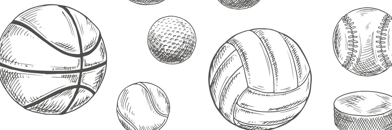 sketch of sports balls
