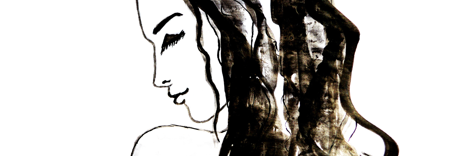 sketch of a woman with long brown hair