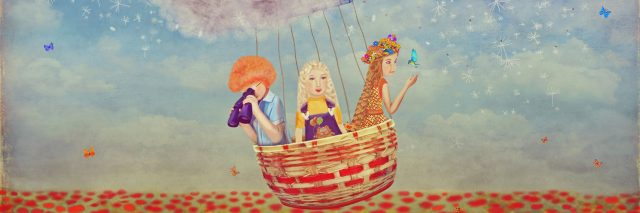 Three girls in a hot air balloon, created by dandelions. Illustration.