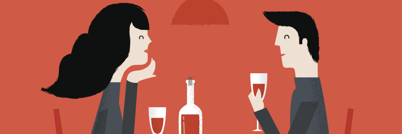 Romantic couple sitting in cafe - sharing a bottle of wine. Vector illustration