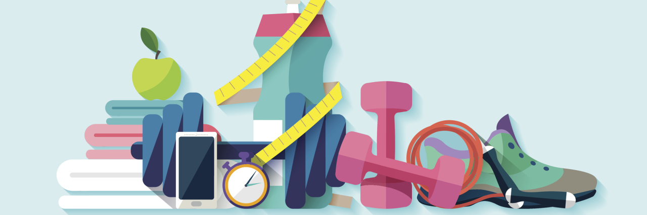 colorful illustration of sneakers, towels, an apple, weights and other fitness gear.