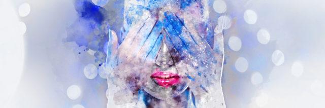 Woman's face. Digital watercolor painting.