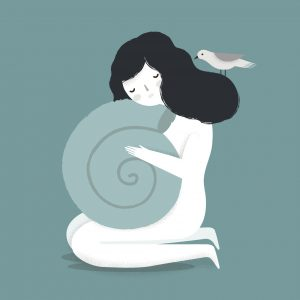 Vector illustration of a psychological theme. The sad girl with seashell. Introvert