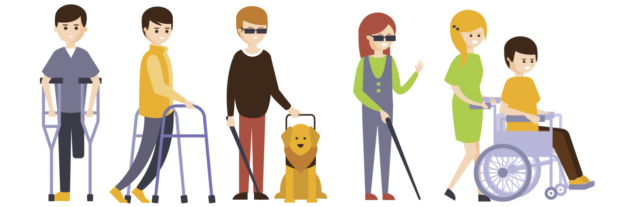 Graphic of people with various disabilities.