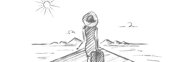 Hand drawn woman with suitcase going to travel