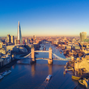 Aerial view of London and the River Thames.