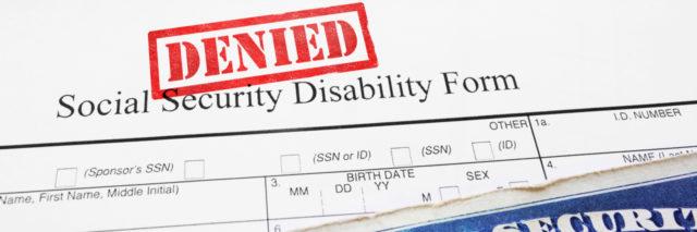 Denied Social Security Disability application form.