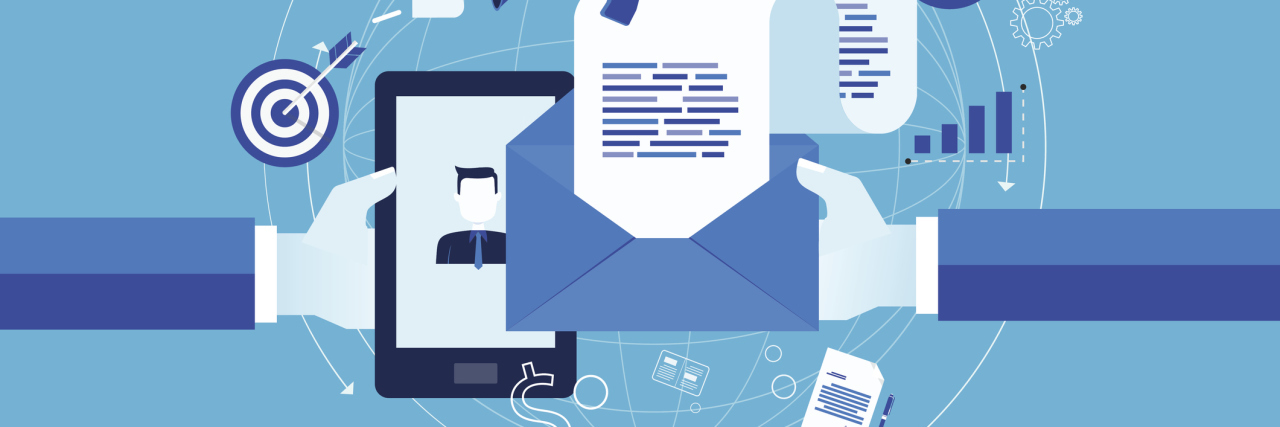 flat vector for business email marketing online concept and business digital marketing content concept