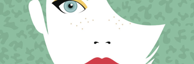 Young beautiful woman face with serious expression, fashion make up and hairstyle over art background. Eps10 vector.