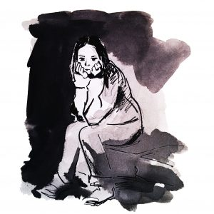 An illustration of a girl sitting, looking at the ground, sad.