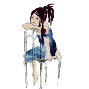 A water color image of a woman sitting at a chair, with a sad, tired expression.