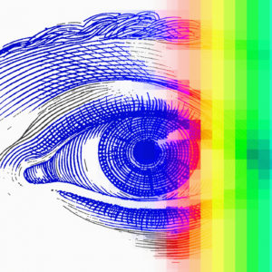 Drawing of eye with rainbow