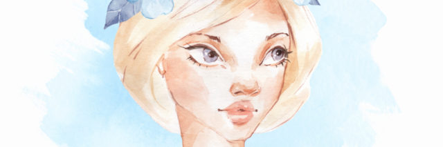 A watercolored image of a woman's face, who is wearing a flower crown on her head.