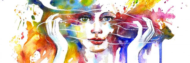 illustration of woman surrounded by splashes of color
