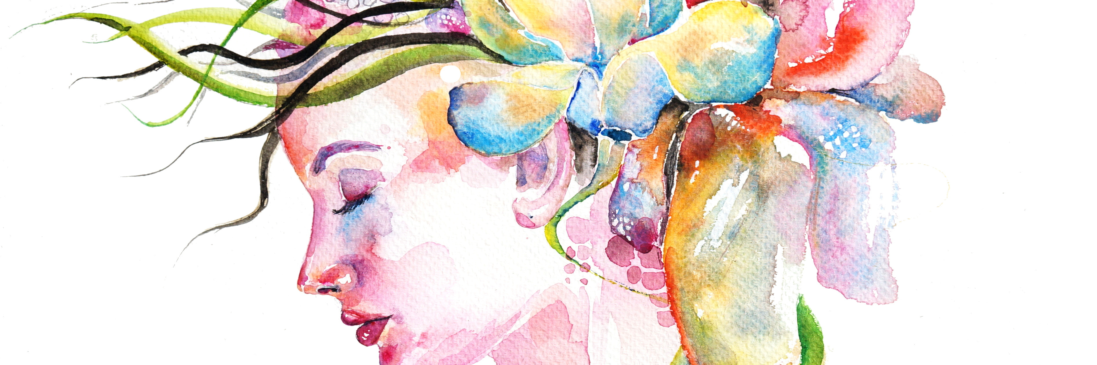 Watercolor illustration representing young girl face with lowers in her hair. Flowers are in light blue and pink colors.