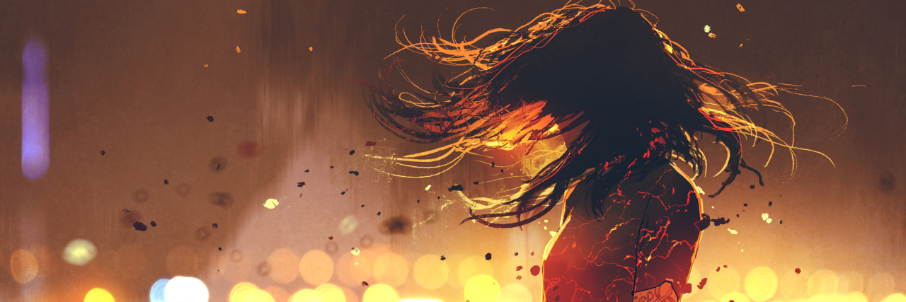 illustration of woman with cracked fire effect on body against defocused lights