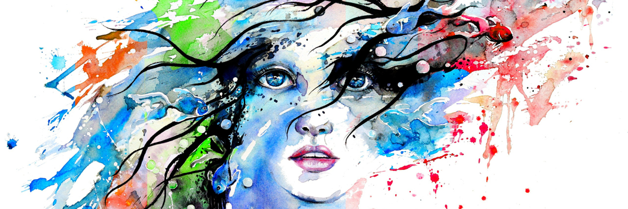 illustration of a woman with colors splashed across her face