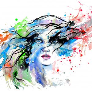 A watercolor illustration of a woman, with paint splashed around the face.
