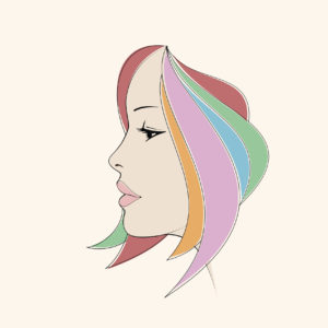 Female silhouette of contour. Woman face profile view . Beauty girl portrait with colorful hair vector illustration on beige background.