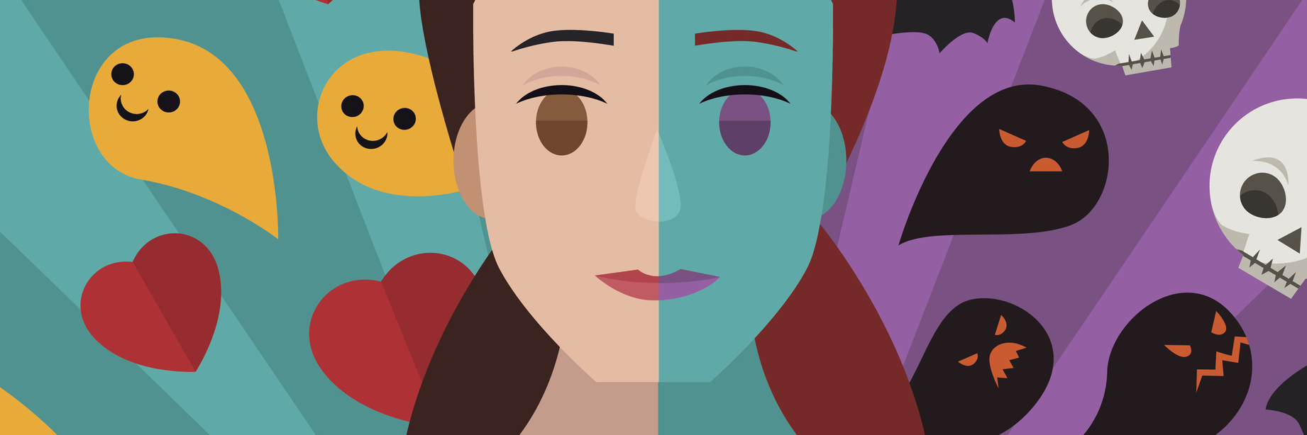illustration of woman with two different sides one happy one sad bipolar disorder