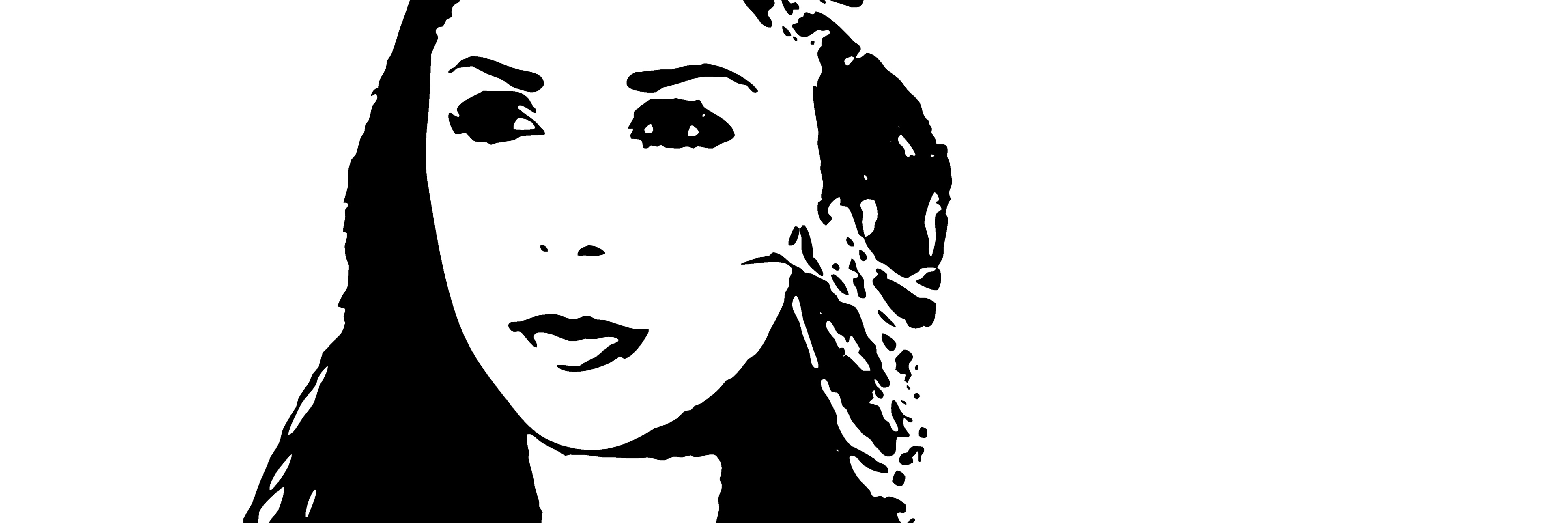 Vector graphic of a young woman in black on a white background.