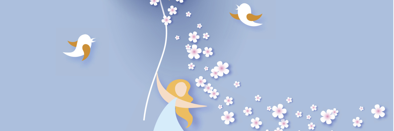 A paper art graphic of a woman with a sun balloon in her hands, and birds around her.