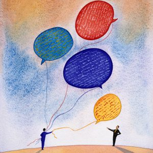 An illustration of someone giving a man a word bubble balloon.