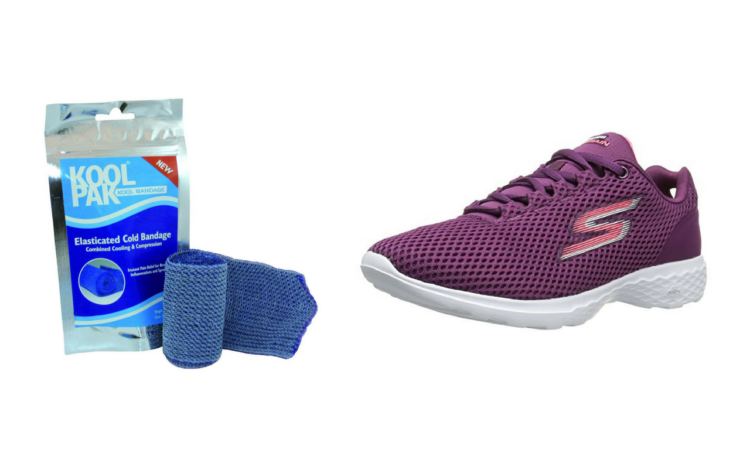 kool pak bandage and purple skechers sneaker