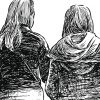 sketch of two women walking together