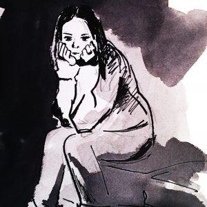 Sitting girl, hand drawing watercolor illustration