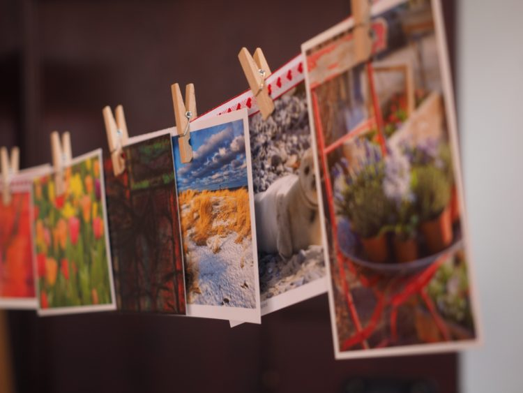 postcards on clothesline