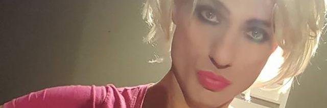 contributor's husband dressed as female altar man blonde wig makeup
