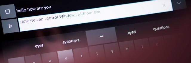 Eye control screen from Windows 10