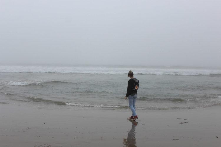 The writer walking down the beach.