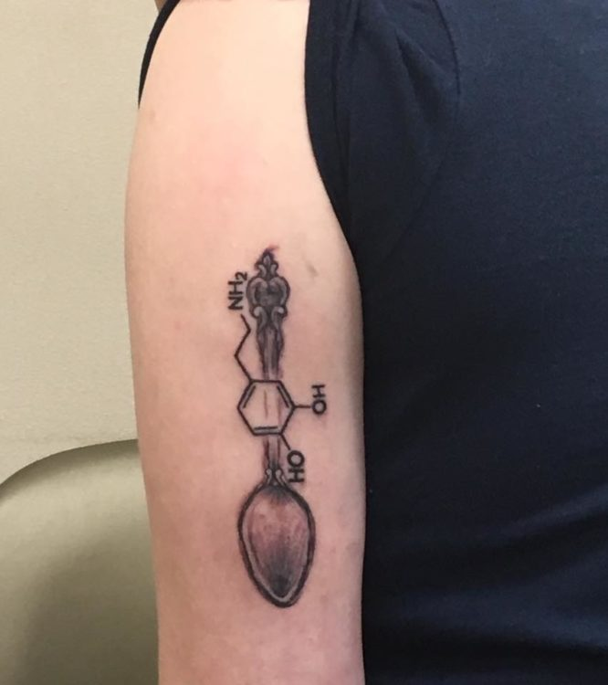 spoon tattoo with chemical compound for dopamine
