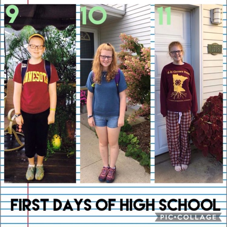 first day of high school pictures for a young woman