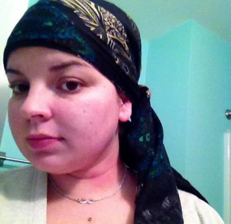 woman with scarf around her head