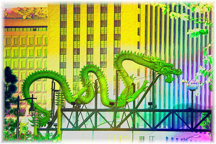 dragon in colorized version of the los angeles city skyline
