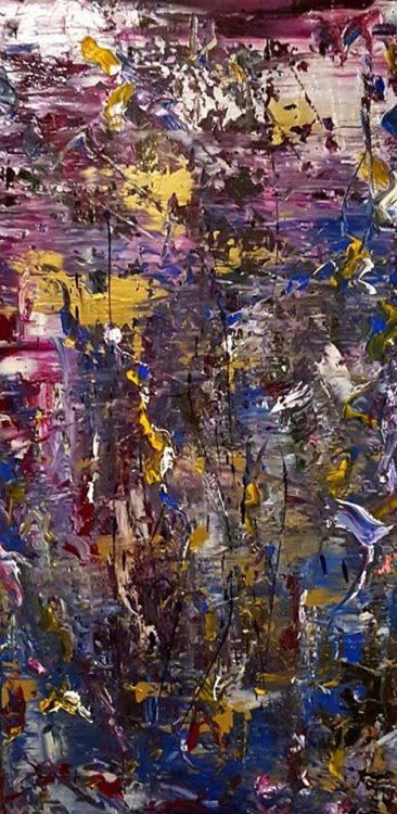 """A purple and yellow art piece titled, """"Beyond Dusty."""""""