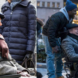 Two images of Bryan Cranston in a wheelchair