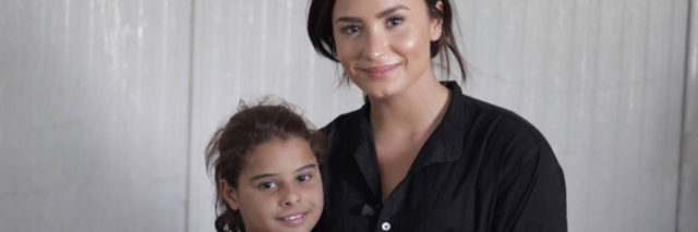 Demi Lovato and a young girl from Kurdistan