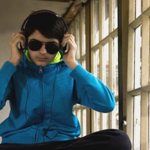 Young man wearing headphones.
