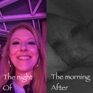 photo of woman out at night and photo of her the next morning in bed