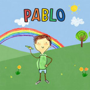 A drawing of a boy in a field holding a crayon with a rainbow in the back