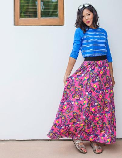 lularoe pink floral skirt and blue shirt