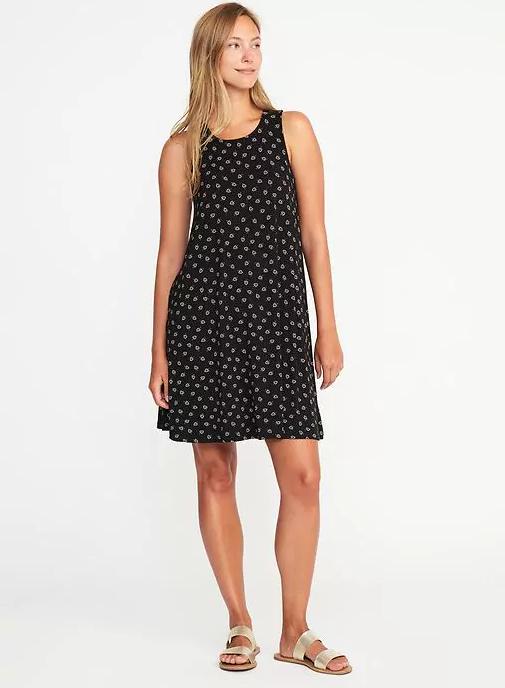 tank style swingy dress in black
