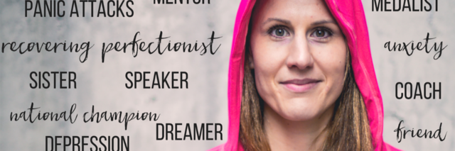 olympic gold medalist samantha arsenault livingstone with motivational words around her