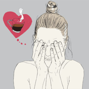 sketch of woman rubbing eyes with heart thought bubble and coffee inside it