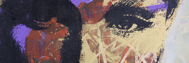 textured oil painting of woman's face close up